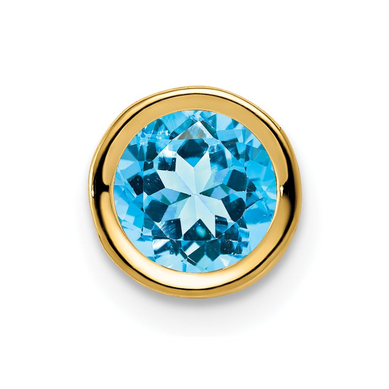 Quality Gold 14k 6mm Blue Topaz bezel pendant