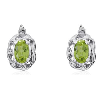 14k White Gold Peridot Scroll Diamond Earrings