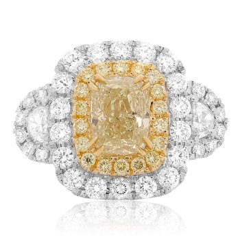 Cushion Cut Diamond Side Stone Ring