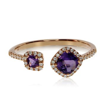 14k Rose Gold Offset Cushion Amethyst and Diamond Ring