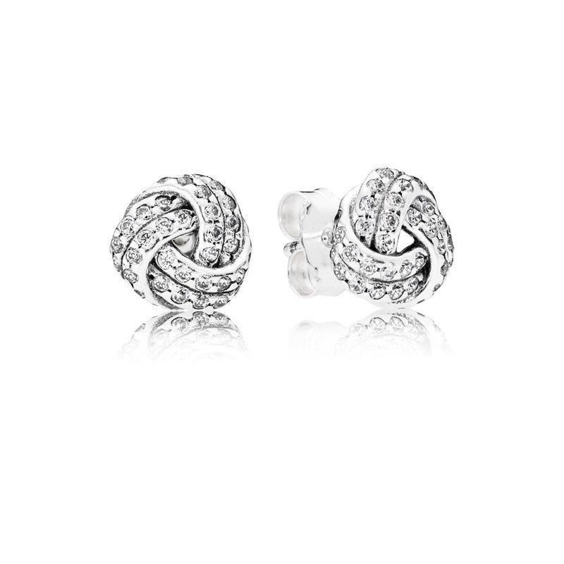 99d78ef53c323 Beré Jewelers: PANDORA Sparkling Love Knots Stud Earrings, Clear Cz