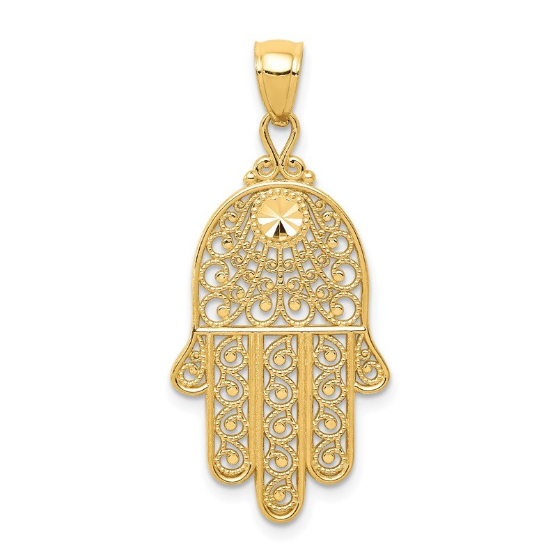 Quality Gold 14k Diamond-cut Filigree Chamseh Pendant