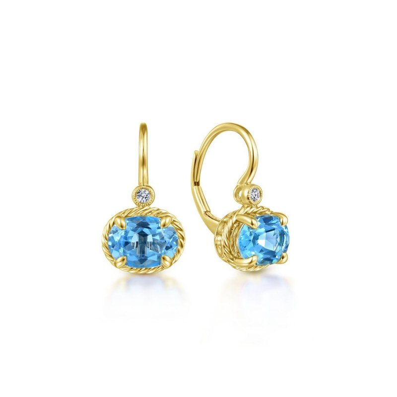 Gabriel Fashion 14k Yellow Gold Oval Swiss Blue Topaz & Diamond Drop Earrings