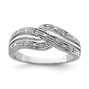 Sterling Silver Rhodium Plated Diamond Ring