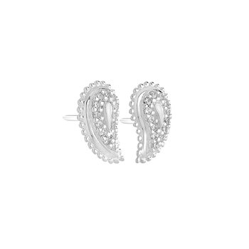 PAISLEY PAVE EARRINGS - SS Swarovski Zircon
