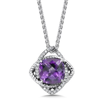 Sterling silver, purple amethyst and diamond pendant