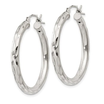 Sterling Silver Diamond-cut Satin 3x30mm Hoop Earrings
