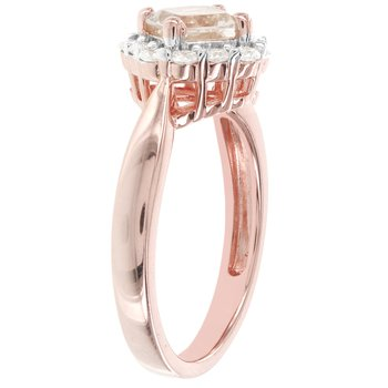 14kt Rose Gold 1ct Morganite center, 3/8ct Diamond Engagement Ring