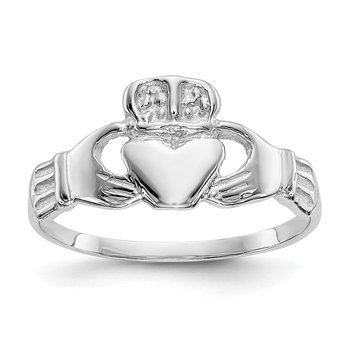 14k White Gold Polished Claddagh Ring