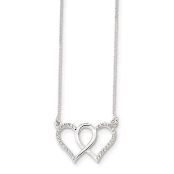 Sterling Silver Polished CZ Double Heart 18in Necklace