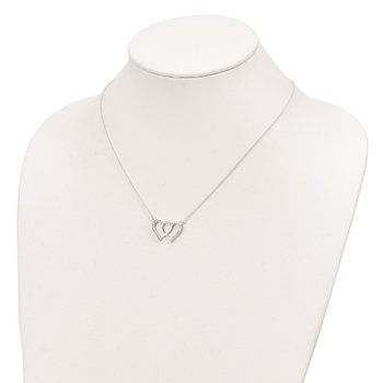 Sterling Silver Polished Interconnected CZ Double Hearts 18 inch Necklace