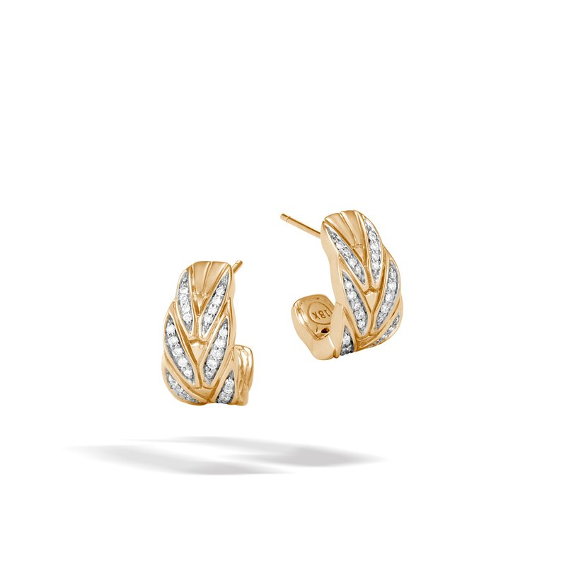 JOHN HARDY Modern Chain Small J Hoop Earring in 18K Gold with Diamonds