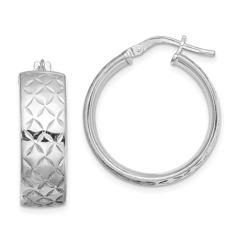 Quality Gold Sterling Silver Rhodium-plated Polished Diamond Cut Hoops