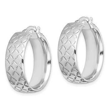 Sterling Silver Rhodium-plated Polished Diamond Cut Hoops