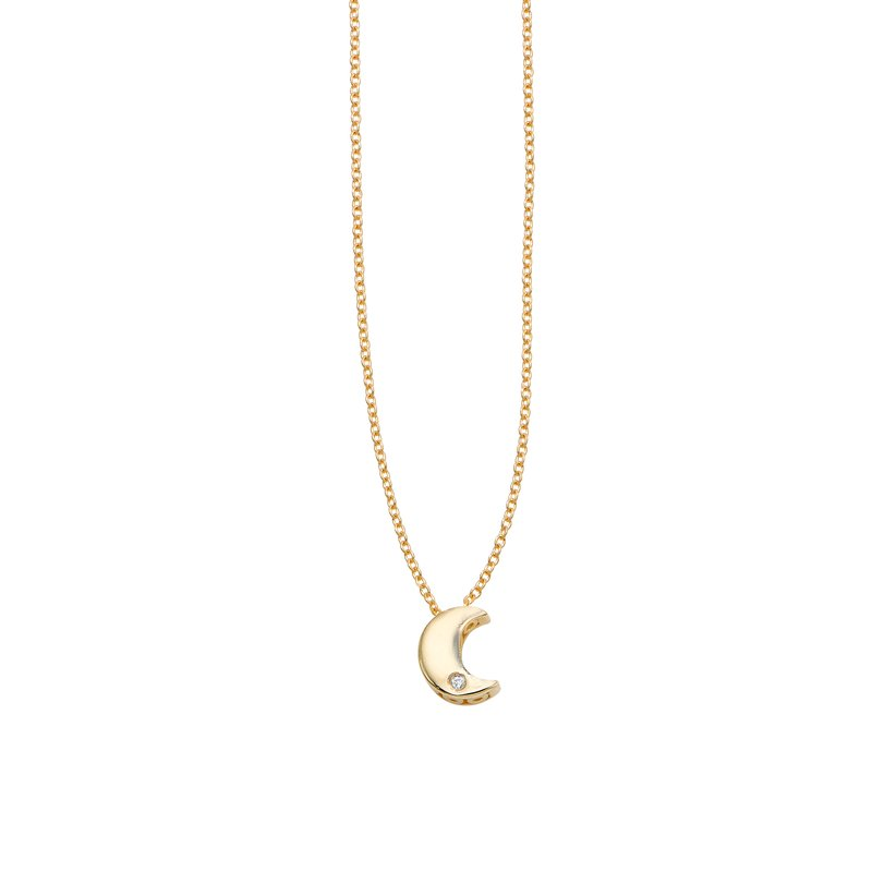 Royal Chain 14K Gold .005ct Diamond Moon Necklace