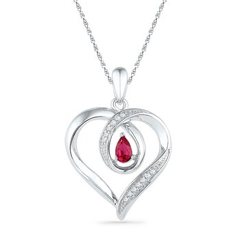 10kt White Gold Womens Pear Lab-Created Ruby Diamond Heart Pendant 1/20 Cttw