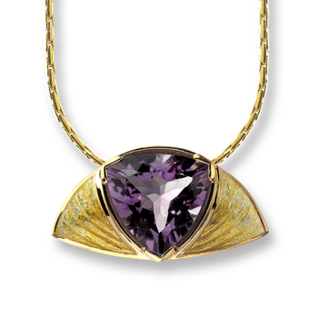Gold Plated Sterling Silver Half Moon Necklace-Yellow, Amethyst