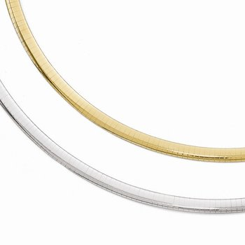 Leslie's 14k Two-tone 5MM Reversible Omega Necklace