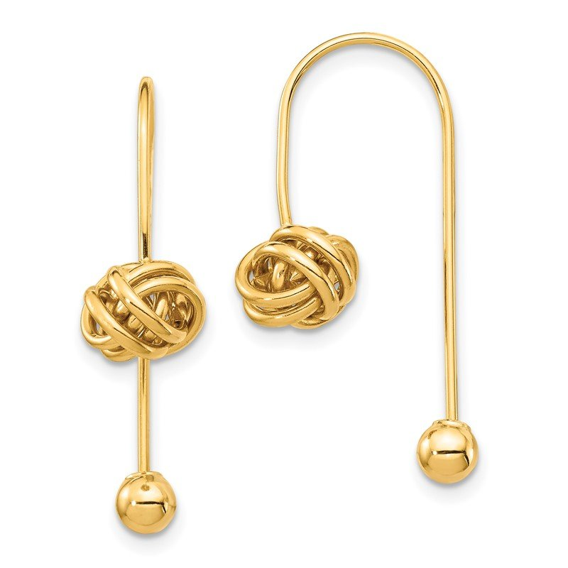 Quality Gold 14K Love Knot w/Screw End Threader Earrings