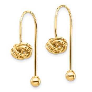 14K Love Knot w/Screw End Threader Earrings