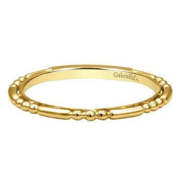 14k Yellow Gold Sculpted Stackable Ring