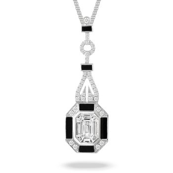 Art Deco Style Diamond & Onyx Necklace