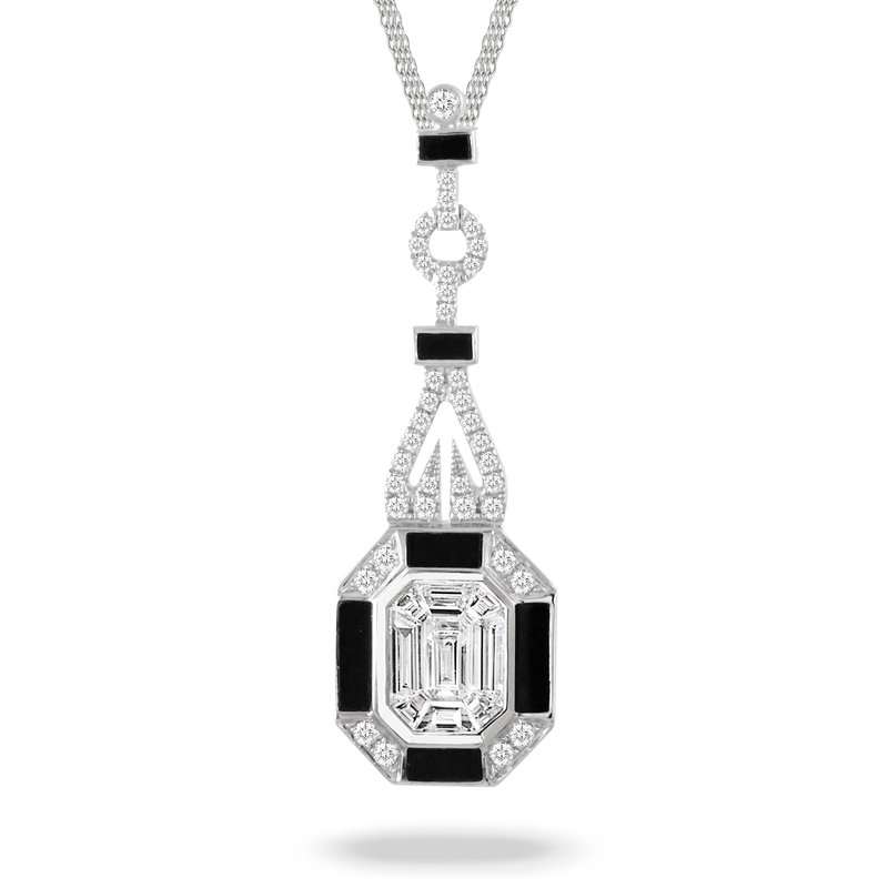 Doves Art Deco Style Diamond & Onyx Necklace