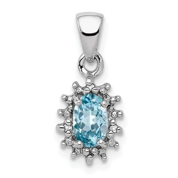 Sterling Silver Rhodium Light Swiss Blue Topaz & Diamond Pendant