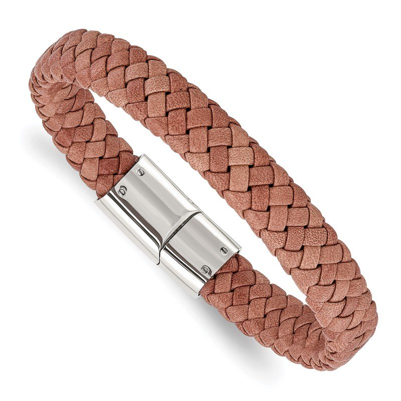 Chisel Stainless Steel Polished Woven Brown Leather 8.25in Bracelet