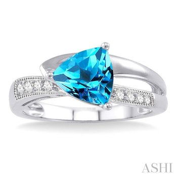 trillion shape gemstone & diamond ring