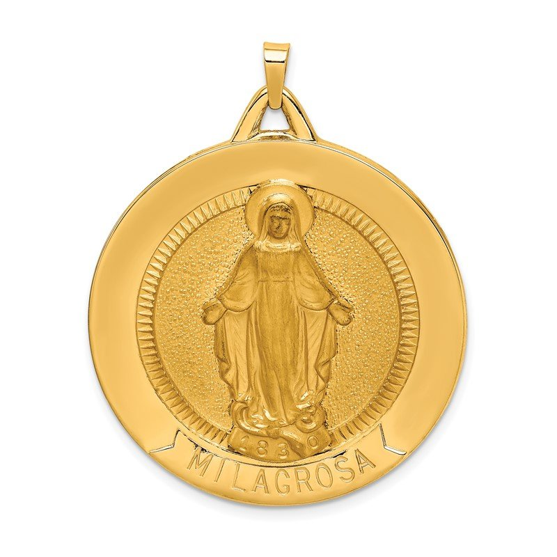 Quality Gold 14k Solid Polished/Satin Large Raised Round Milagrosa Medal