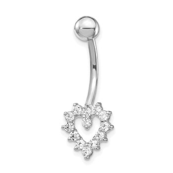10k White Gold W/Cz Heart Belly Dangle