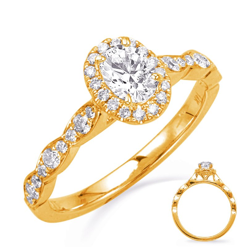 S. Kashi & Sons Bridal Yellow Gold Oval Halo Engagement Ring