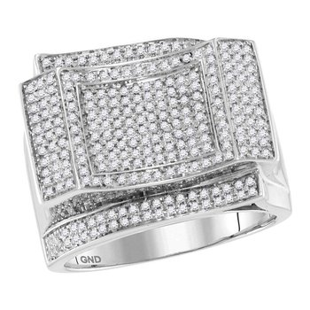 10kt White Gold Mens Round Diamond Square Cluster Contoured Ring 7/8 Cttw