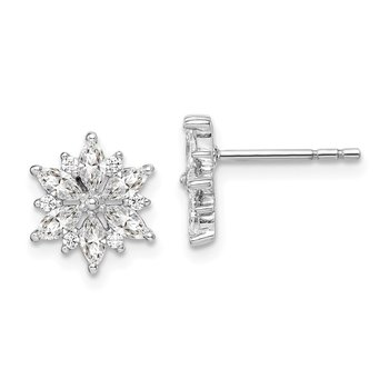 Sterling Silver Rhodium-Plated Snowflake CZ Earrings