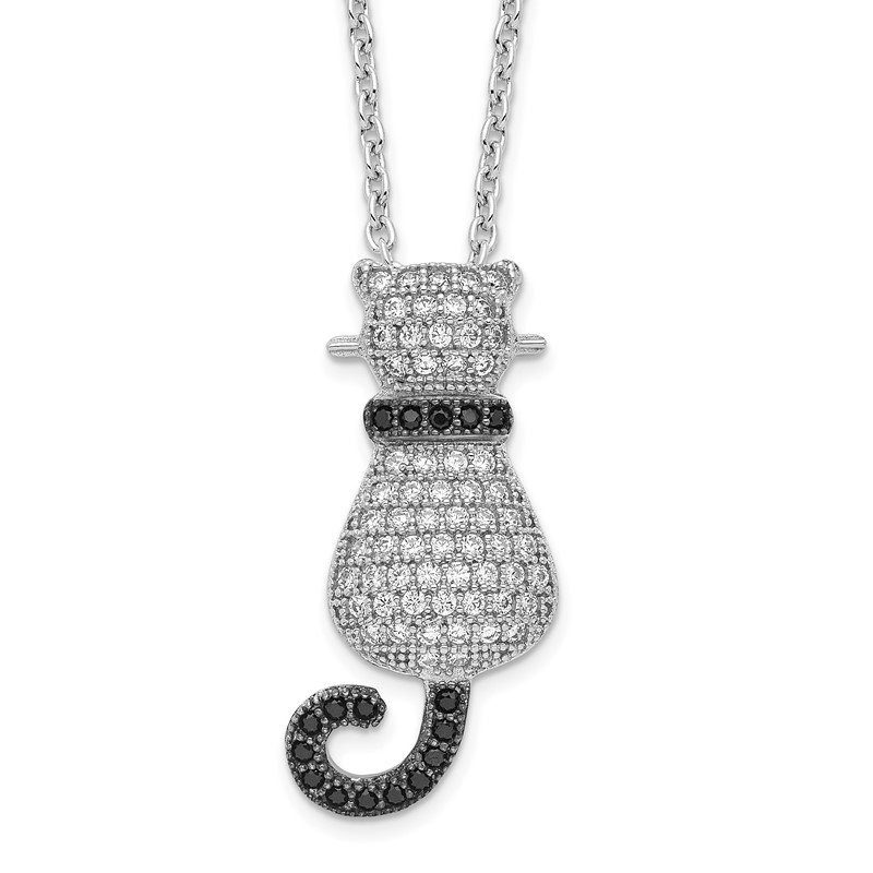 Quality Gold Sterling Silver Brilliant Embers Rhodium-plated CZ Polished Cat Necklace