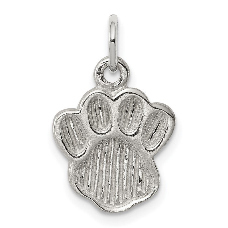 Quality Gold Sterling Silver Polished and Textured Paw Print Charm