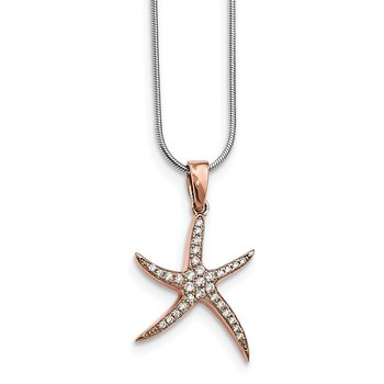 Sterling Silver Brilliant Embers Rose-tone CZ Starfish Necklace