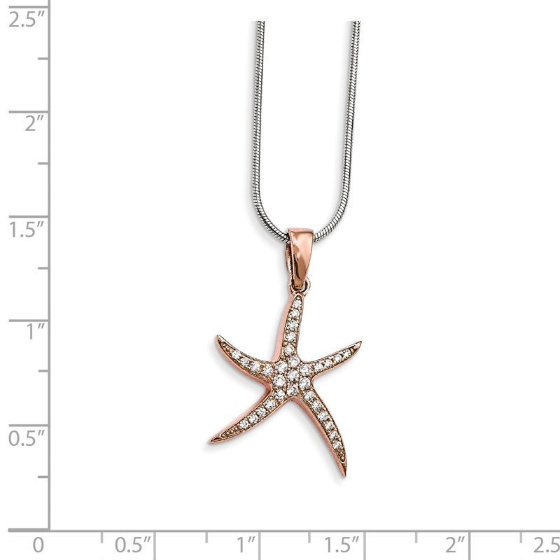 Quality Gold Sterling Silver Rose-tone & CZ Brilliant Embers Starfish Necklace