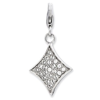 Sterling Silver Enameled 3-D Diamond w/Lobster Clasp Charm