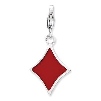 SS RH Enameled 3-D Diamond w/Lobster Clasp Charm
