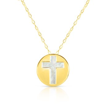 14K Gold Cross Mother of Pearl Necklace