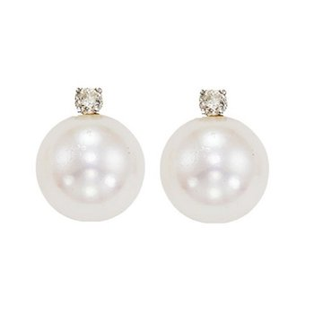 Cultured Pearl & Diamond Studs 8.5 mm