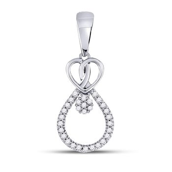 10kt White Gold Womens Round Diamond Heart Teardrop Cluster Pendant 1/10 Cttw