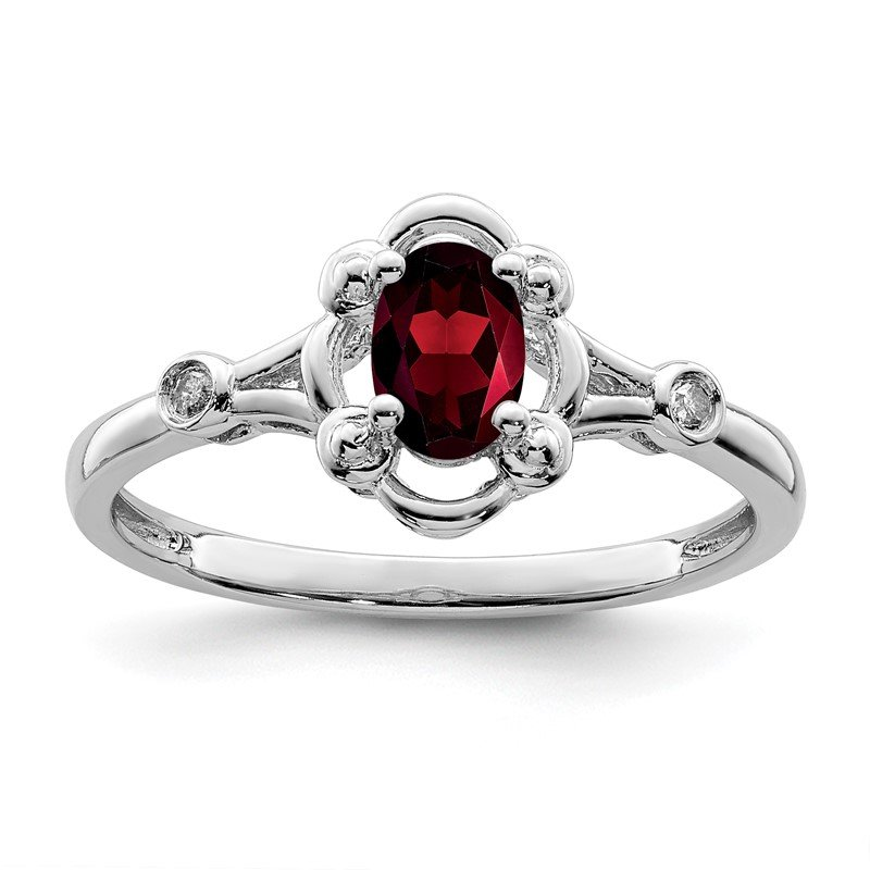 Quality Gold Sterling Silver Rhodium-plated Garnet & Diam. Ring