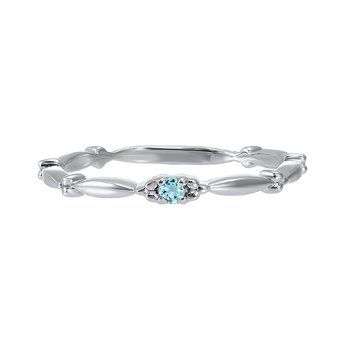 Aquamarine Solitaire Antique Style Slender Stackable Band in 10k White Gold