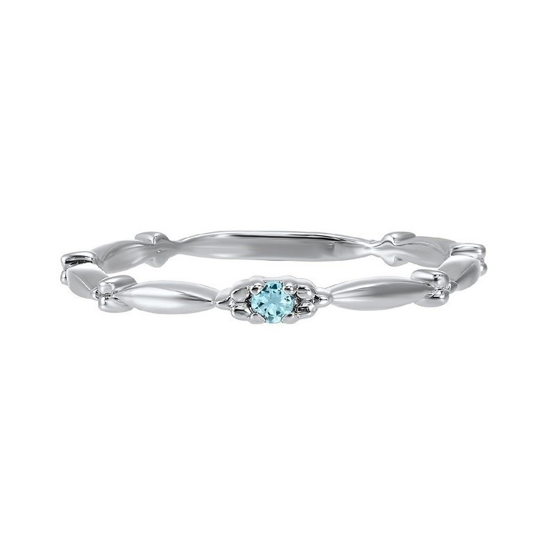 Gems One Aquamarine Solitaire Antique Style Slender Stackable Band in 10k White Gold
