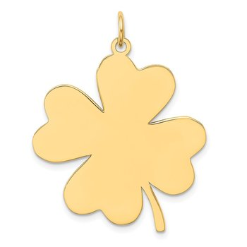 14k Plain .018 Gauge Engravable Clover Disc Charm