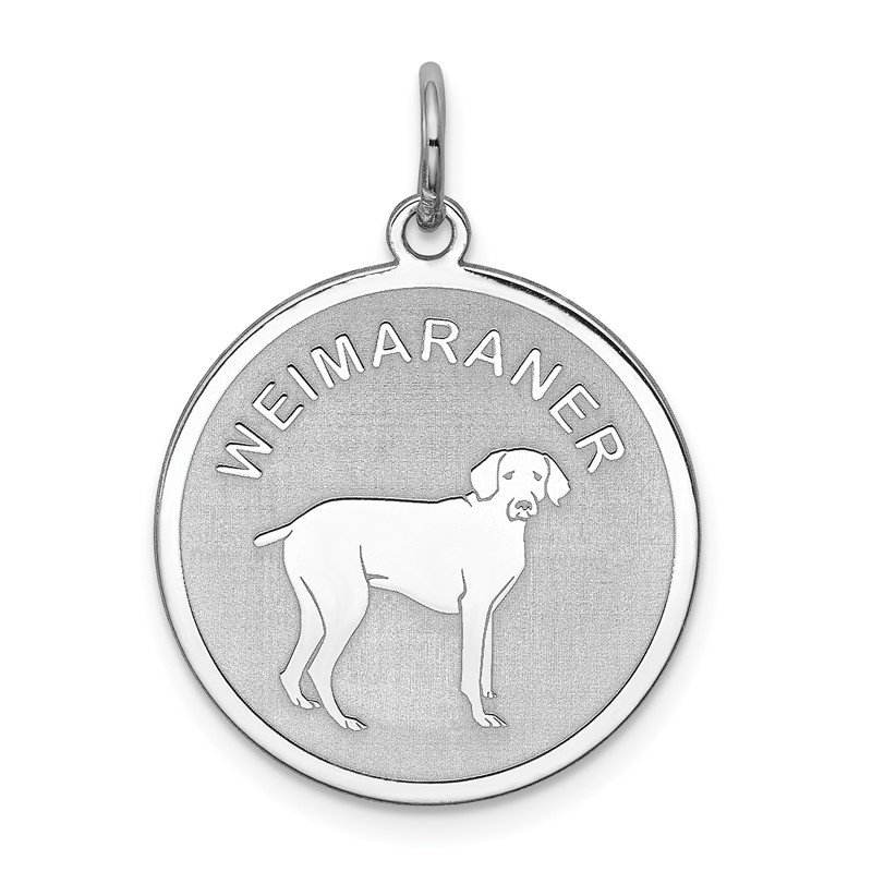 Quality Gold Sterling Silver Rhodium-plated Weimaraner Disc Charm