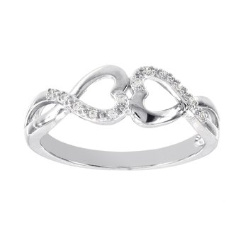 Sterling Silver Diamond Accent Double Heart Ring